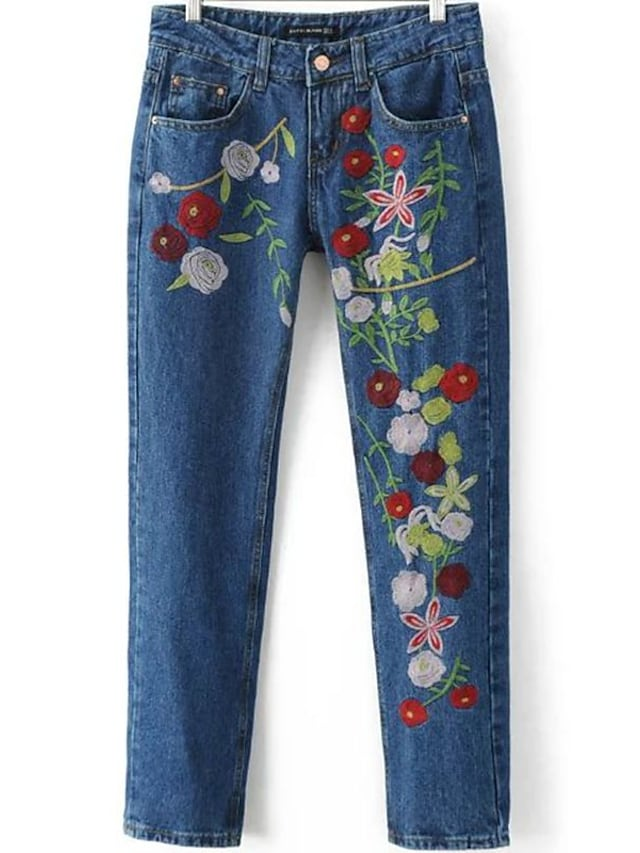 Women's Embroidery Mid Rise Inelastic Jeans Pants,Slim Print
