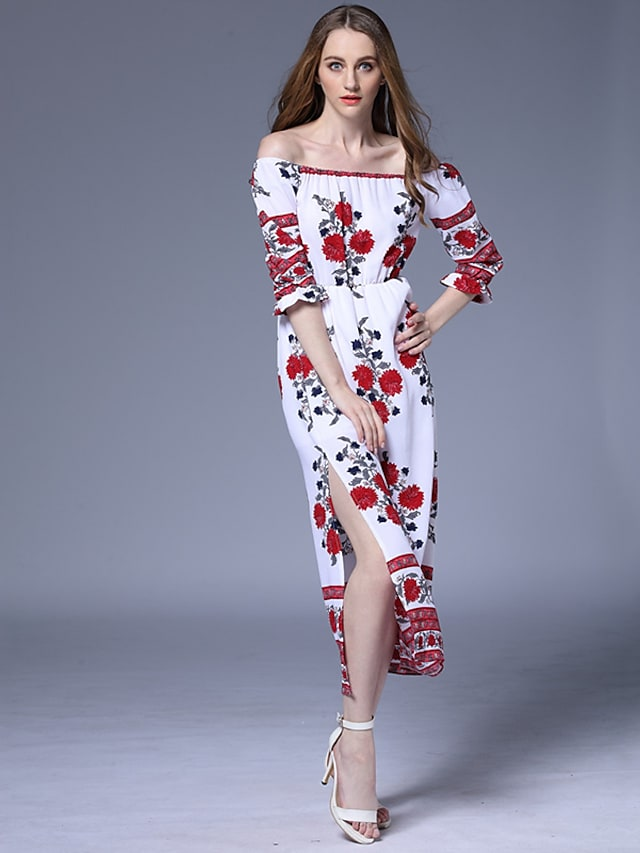 Women's Off Shoulder Holiday / Going out / Beach Street chic Maxi Bodycon / Sheath Dress - Floral Boat Neck Summer White M L XL
