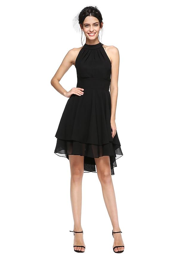Linea-A Abitino nero Elegante Orlo asimmetrico Rimpatriata di classe Cocktail party Vestito Collo alto Senza maniche Asimmetrico Chiffon con A pieghe 2021