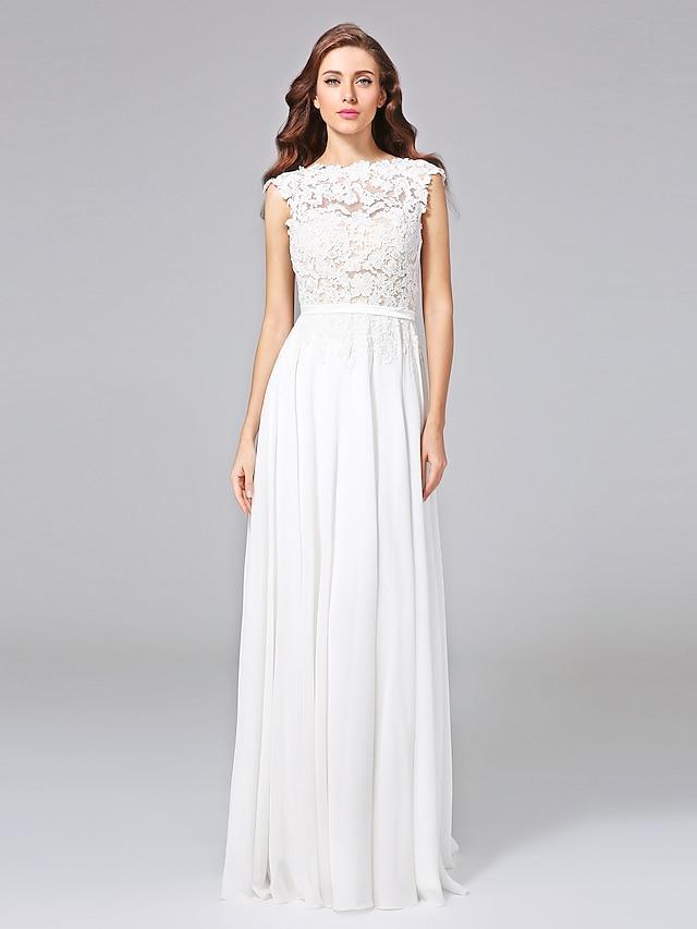 Sheath / Column Wedding Dresses Bateau Neck Sweep / Brush Train Chiffon Floral Lace Cap Sleeve Romantic Illusion Detail Backless with Bowknot Sash / Ribbon 2021