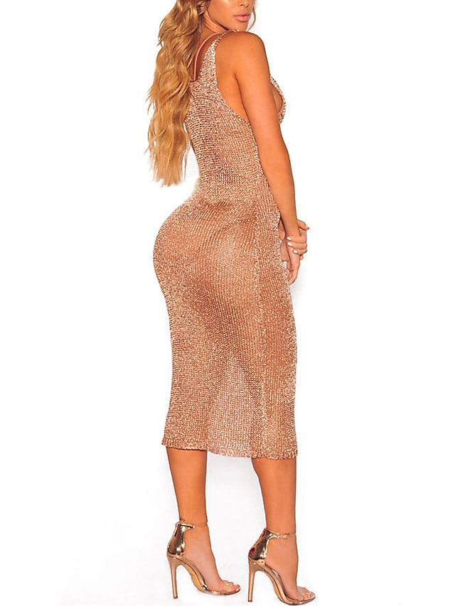 Women's Bodycon Knee Length Dress Yellow Gold Sleeveless Solid Colored Criss Cross Mesh Spring Summer Deep V Party Lace up S M L XL / Super Sexy