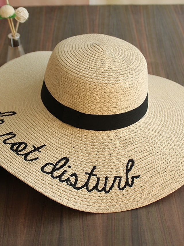 Women's Polyester Straw Straw Hat Sun Hat, Cute Casual Print Summer Blushing Pink Beige Khaki