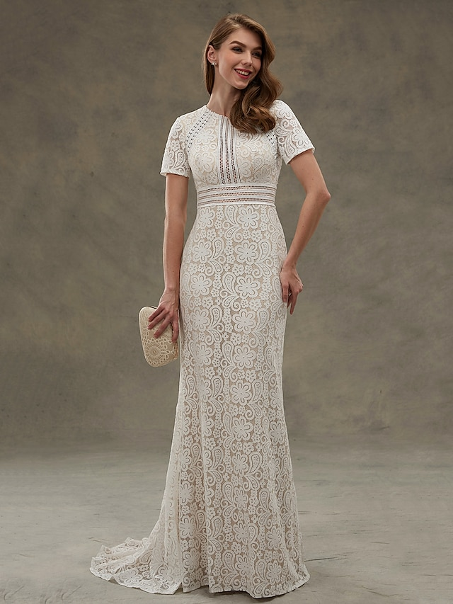 Sheath / Column Wedding Dresses Jewel Neck Floor Length Sheer Lace Short Sleeve Open Back See-Through with Lace Sash / Ribbon Draping 2021