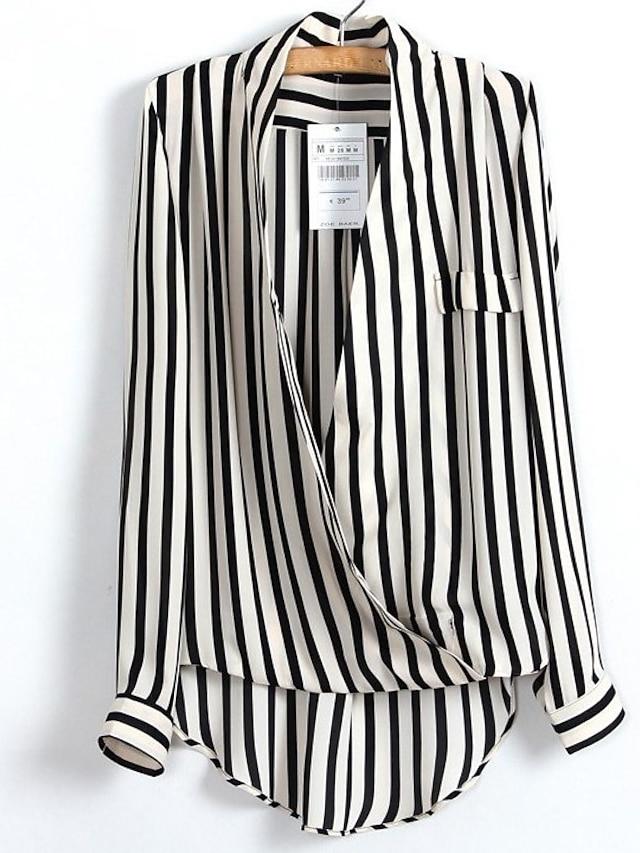 Women's Shirt Striped Long Sleeve Daily Tops Casual Streetwear Punk & Gothic Deep V Black / Work / Sexy