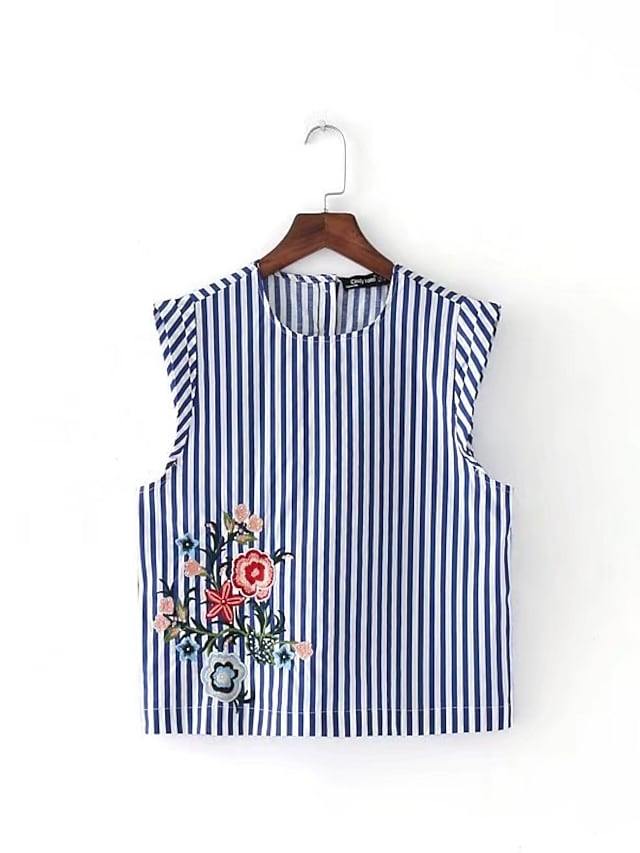 Women's Daily Going out Casual Sexy Street chic Summer T-shirt,Striped Embroidery Round Neck Sleeveless Cotton