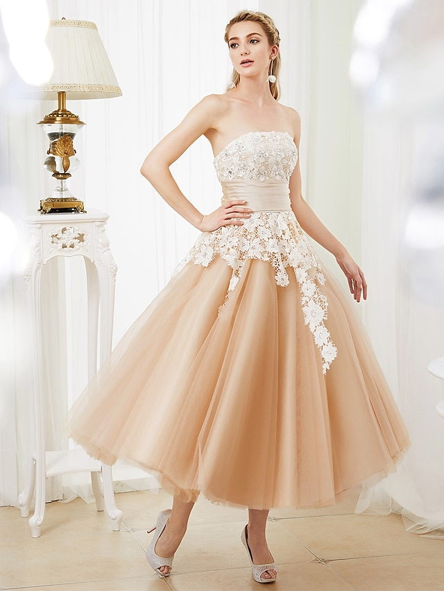 Ball Gown Wedding Dresses Strapless Tea Length Lace Satin Tulle Strapless Romantic Casual Illusion Detail with Sashes / Ribbons Crystals 2021