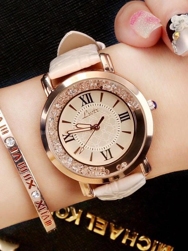 Women's Ladies Wrist Watch Analog Quartz Luxury Diamond / Quilted PU Leather