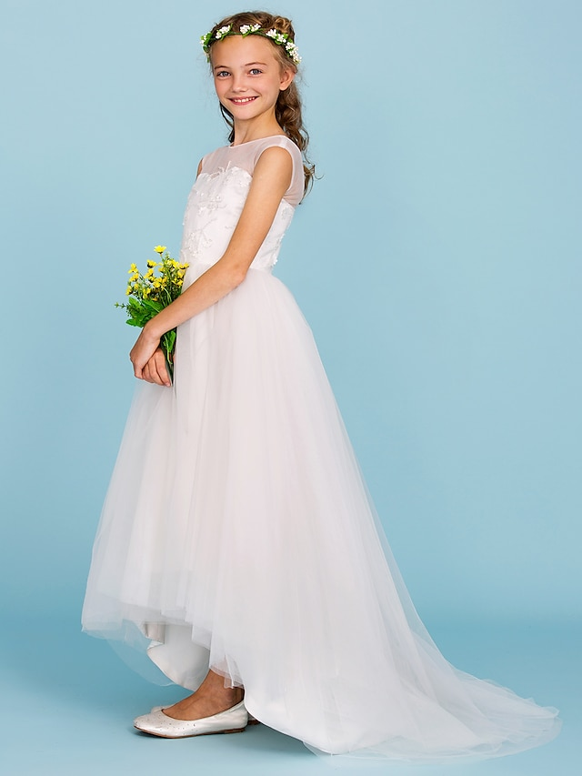 Ball Gown Asymmetrical Junior Bridesmaid Dress Party Tulle Crew Neck with Beading / Wedding Party / Open Back