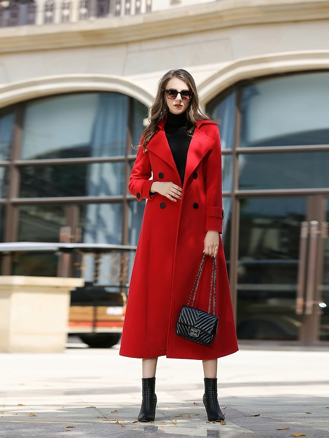 Women's Winter Coat Daily Work Vintage Maxi Solid Colored Wool Red S / M / L