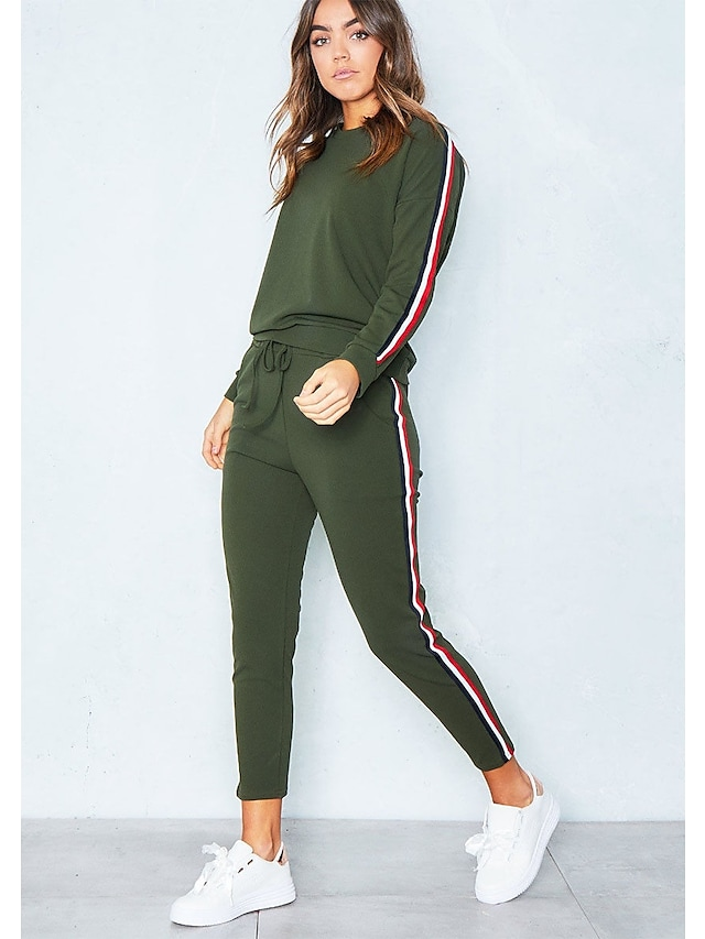 Women's Casual Solid Colored Sports Two Piece Set Cotton Hoodie Pant Stripe Tops / Winter / Sporty Look