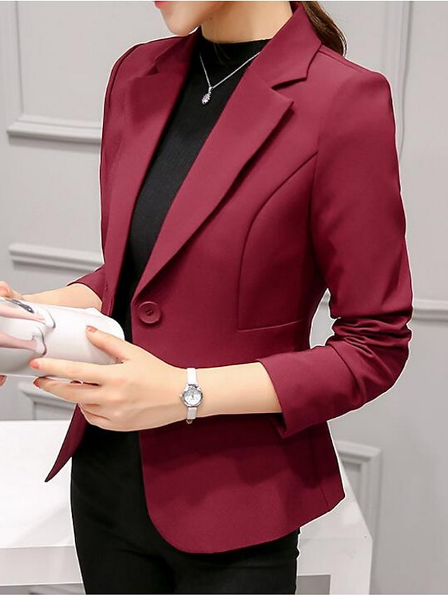 Women's Blazer Solid Colored Classic Style Ordinary Long Sleeve Coat Spring Daily Regular Jacket Blushing Pink