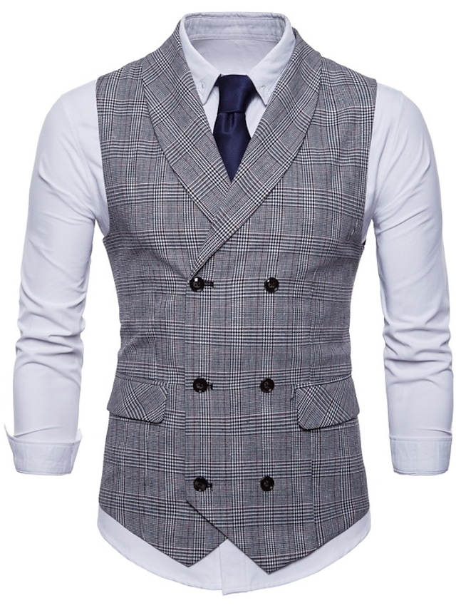 Men's Vest Suit Vest Waistcoat Party / Evening Daily Holiday Formal Vintage Office / Business Plaid Slim Polyester Men's Suit Light gray / Dark Gray / Brown - Shirt Collar / Spring / Fall / Work