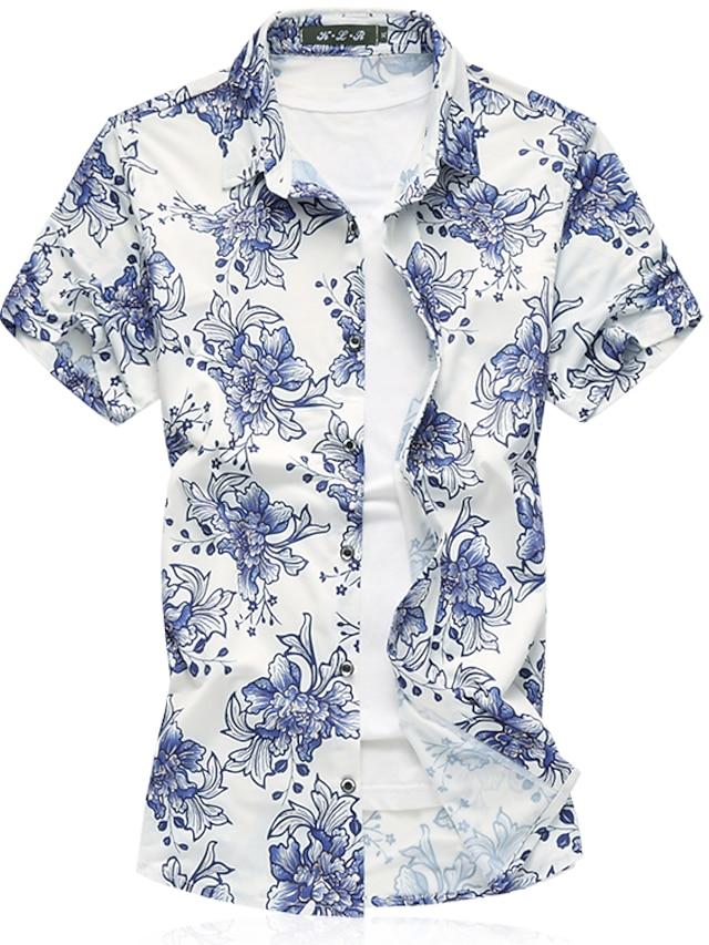 Men's Beach Business Cotton Shirt-Floral,Print Classic Collar