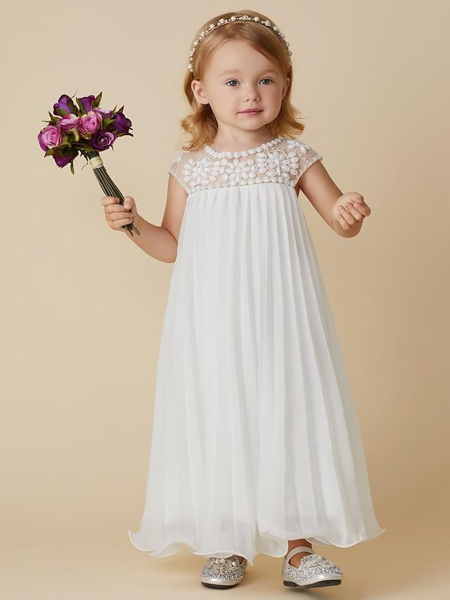 Sheath / Column Knee Length Wedding / First Communion / Holiday Flower Girl Dresses - Chiffon Short Sleeve Jewel Neck with Beading / Draping