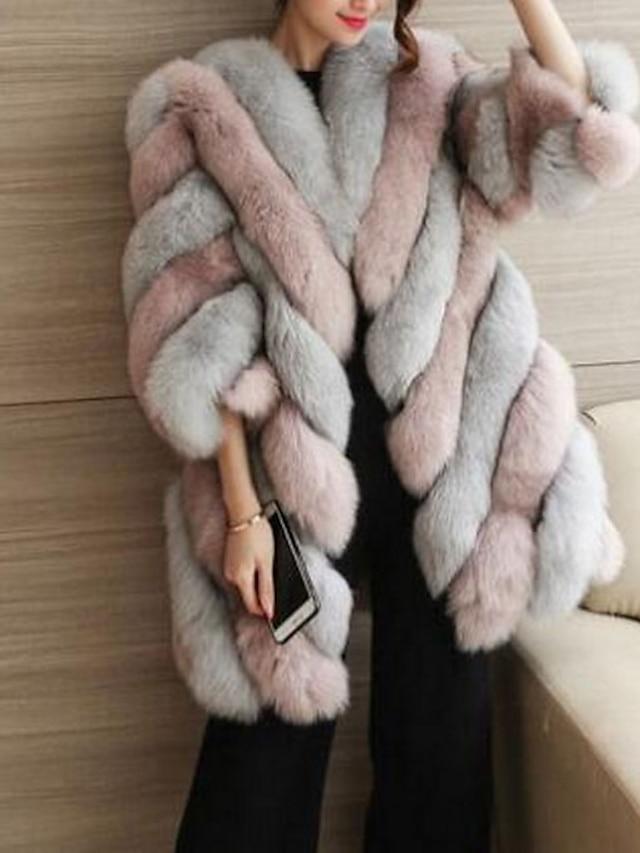 Women's Fall / Winter Plus Size Long Fur Coat, Color Block Black & White Round Neck Long Sleeve Faux Fur Blushing Pink / Wine / Green