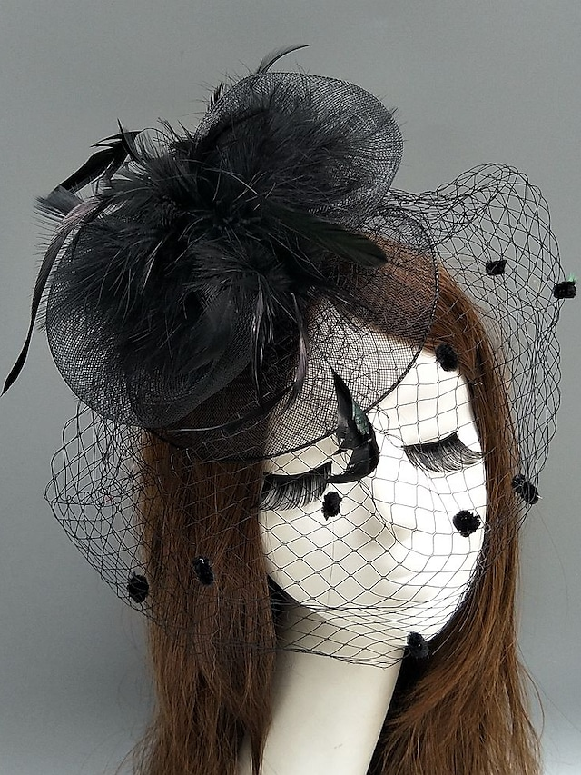Feather / Net Kentucky Derby Hat / Fascinators / Hats with Feather / Floral / Flower 1pc Wedding / Special Occasion Headpiece