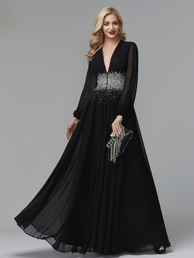 Corte A Estilo de Celebridad Imperio Invitado a la boda Noche formal Vestido Escote en Pico Manga Larga Hasta el Suelo Gasa con Detalles de Cristal 2021