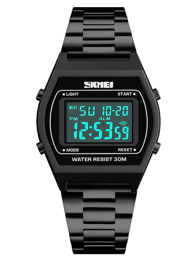 SKMEI Men's Sport Watch Japanese Digital 30 m Water Resistant / Water Proof Alarm Calendar / date / day Stainless Steel Band Digital Casual Fashion Black / Blue / Silver - Blue Golden Rose Gold One