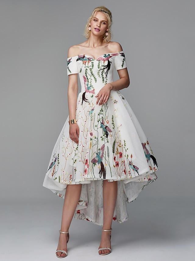 Ball Gown Elegant Floral High Low Cocktail Party Prom Valentine's Day Dress Off Shoulder Short Sleeve Asymmetrical Polyester with Embroidery 2021