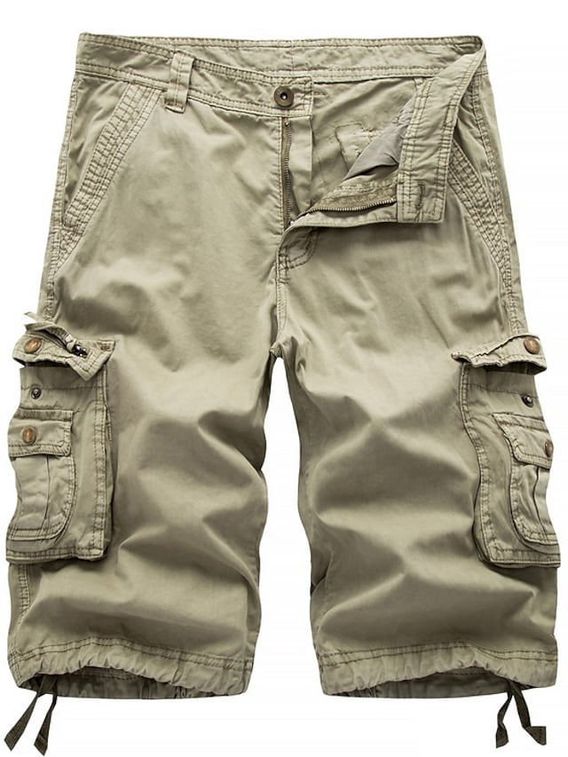 Men's Streetwear Military Going out Chinos Shorts Tactical Cargo Pants Solid Colored Knee Length Black Blue Red Khaki Green