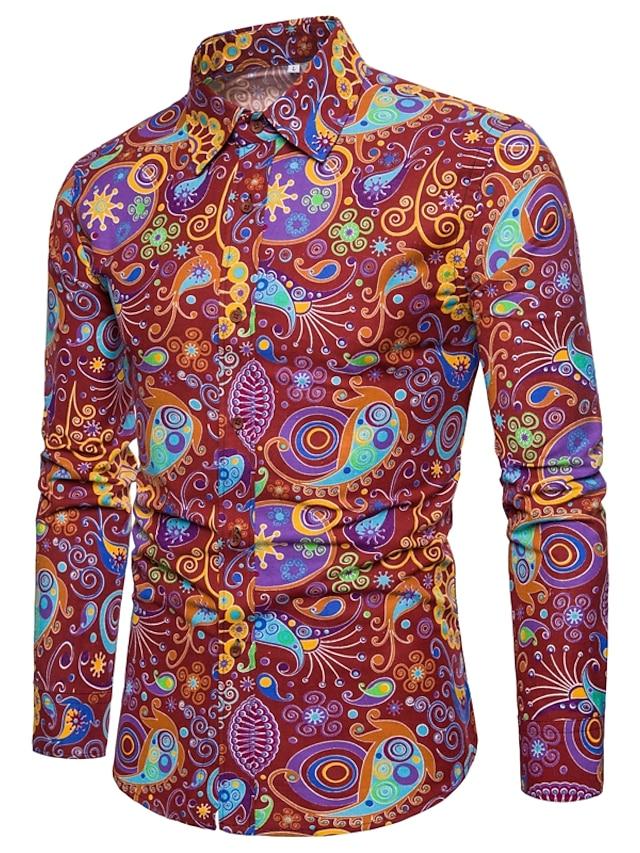 Men's Shirt Paisley Tribal Plus Size Print Long Sleeve Street Slim Tops Cotton Basic Fashion Vintage Streetwear Khaki Red Navy Blue / Club