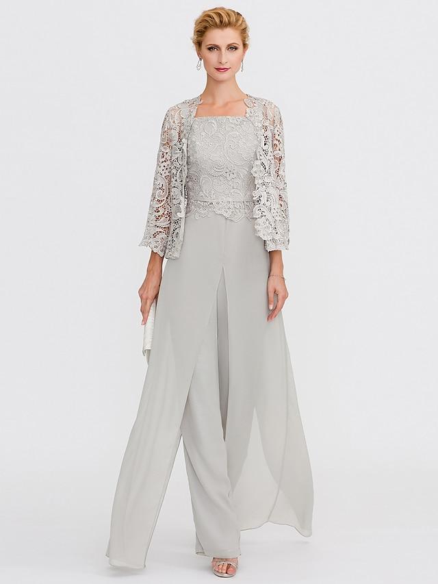 Pantsuit / Jumpsuit Mother of the Bride Dress Plus Size Elegant Square Neck Floor Length Chiffon Corded Lace Sleeveless with Lace Appliques 2021