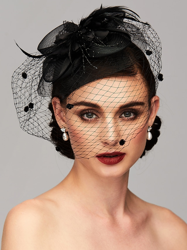 Elegant & Luxurious Feather / Mesh Kentucky Derby Hat / Fascinators / Headpiece with Feather / Floral / Flower 1pc Wedding / Special Occasion / Tea Party Headpiece