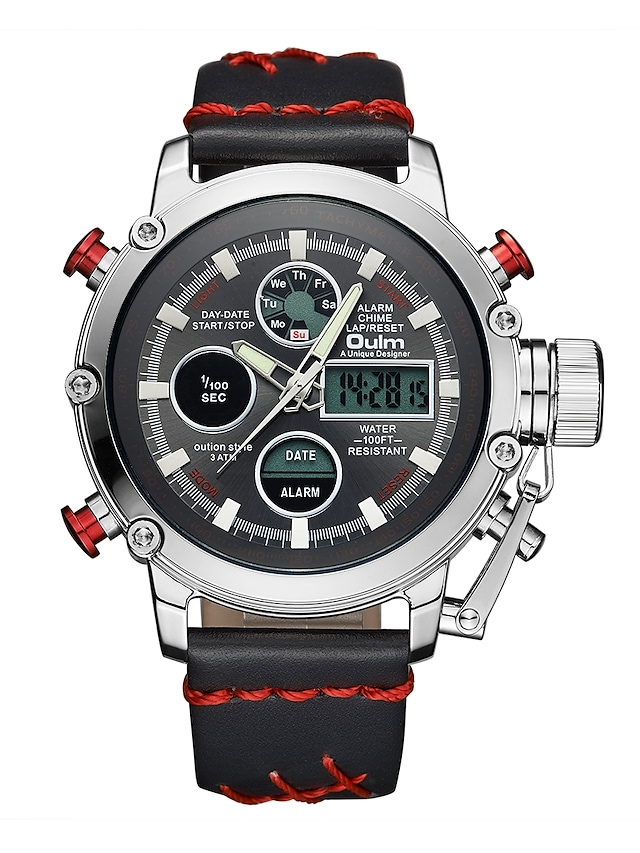 Oulm Men's Sport Watch Military Watch Analog - Digital Japanese Quartz Casual Water Resistant / Waterproof Calendar / date / day LCD / One Year / Leather