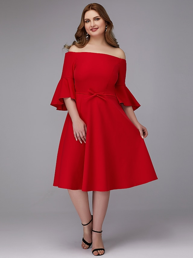 A-Line Plus Size Wedding Guest Cocktail Party Valentine's Day Dress Off Shoulder Half Sleeve Knee Length Stretch Satin with Bow(s) 2021