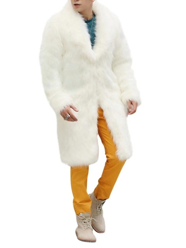 Homens Casaco Sólido Inverno Casacos de Pêlo Lapela Xale Longo Final de semana Manga Longa Pêlo Sintético Casaco Blusas Branco
