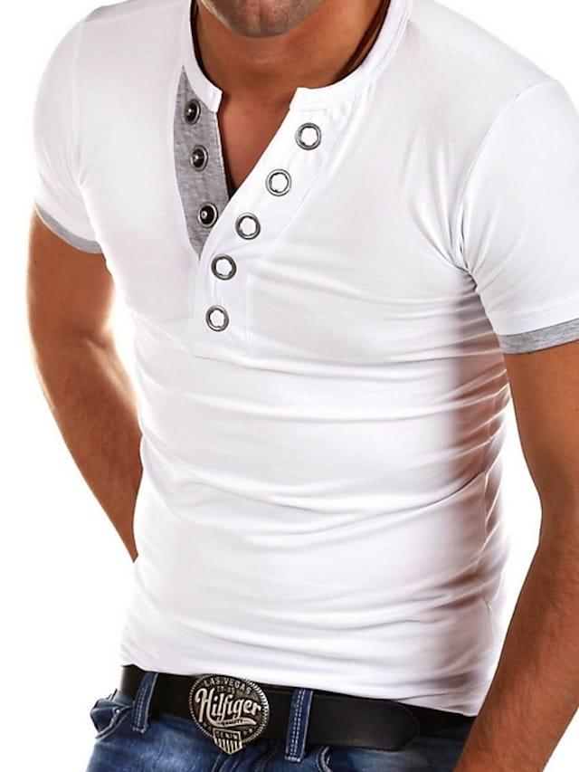 Men's T shirt Shirt Graphic Solid Colored Plus Size Tops V Neck White Black