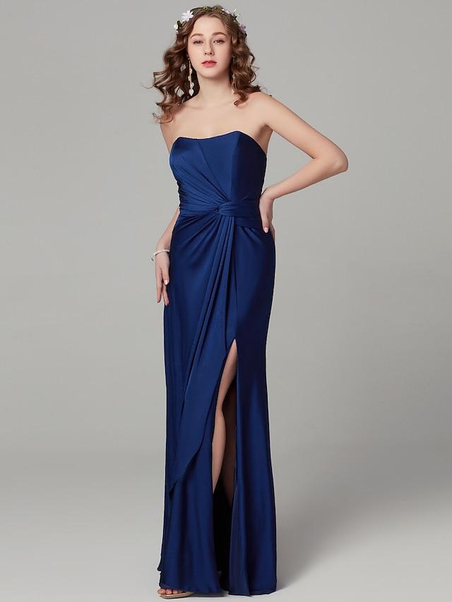 Sheath / Column Strapless Floor Length Satin Bridesmaid Dress with Split Front