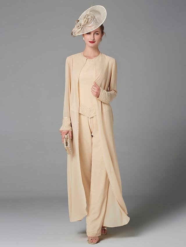 Pantsuit / Jumpsuit Mother of the Bride Dress Plus Size Elegant Bateau Neck Floor Length Chiffon Sleeveless with Beading Appliques 2021