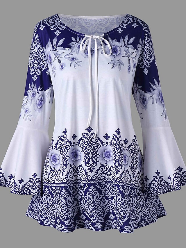 Women's Plus Size Tops Blouse Shirt Floral Graphic Knotted Print Long Sleeve Round Neck Elegant Spring Summer Blue Purple Red Big Size XL 2XL 3XL 4XL