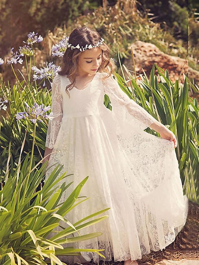 Tubinho Maxi Vestidos de florista Casamento Renda Manga 3/4 Decote V com Renda / Feriado