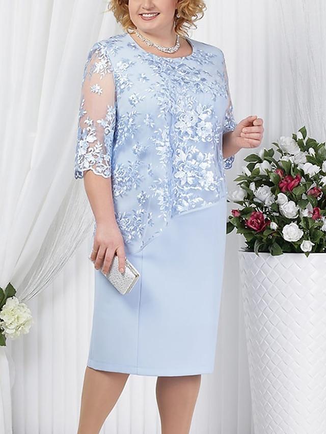 نسائي فستان شيث فستان طول الركبة أحمر أزرق البحرية أزرق فاتح نصف كم لون سادة ستايل رسمي دانتيل الربيع الصيف رقبة دائرية حار للأم مناسب للخارج 2021 L XL XXL 3XL 4XL 5XL / قياس كبير / قياس كبير
