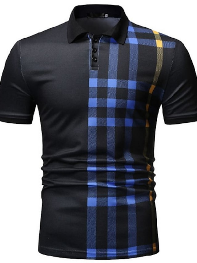 Men's Polo Striped Short Sleeve Outdoor clothing Tops Casual / Daily Casual / Sporty Shirt Collar White Black Navy Blue