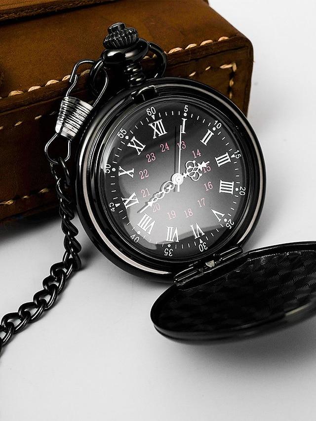 мужские карманные часы аналоговые кварцевые классические с полой гравировкой