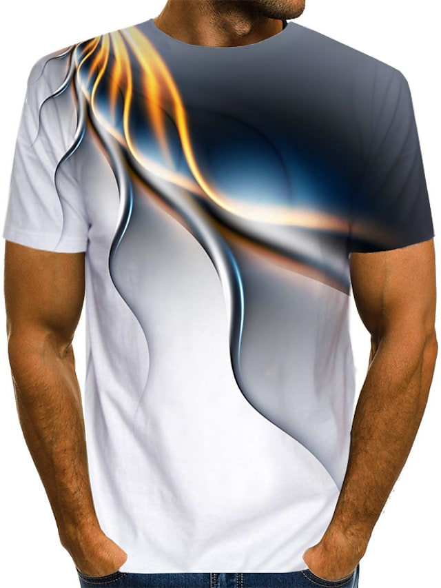 Men's Tee T shirt 3D Print Graphic Abstract Print Short Sleeve Casual Tops Basic Designer Streetwear Exaggerated Round Neck Blue Purple Green / Summer