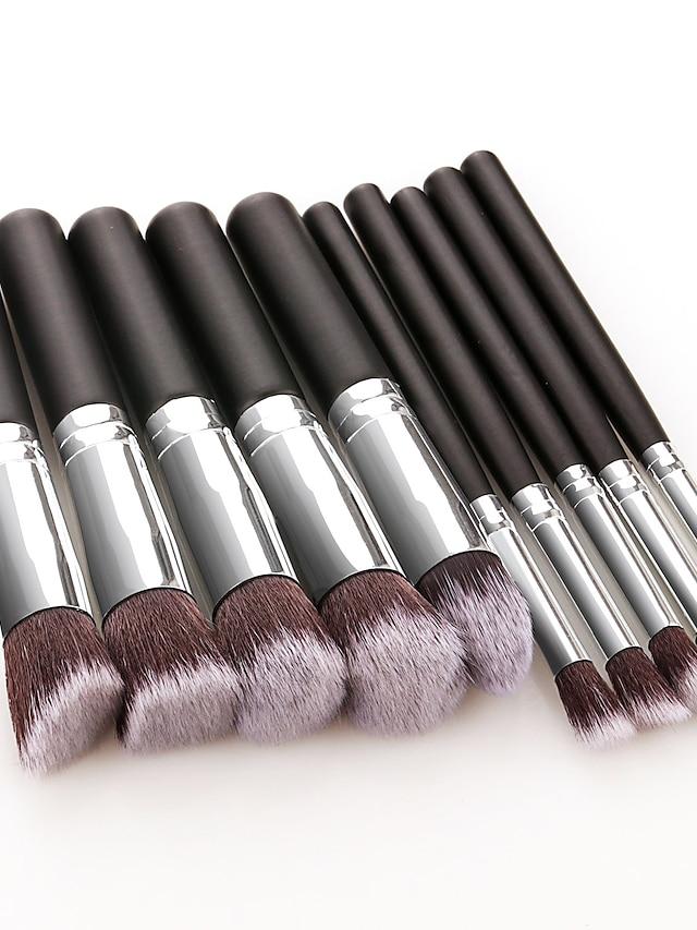 Profesjonell Makeup børster 10pcs Myk Full Dekning Smuk comfy Tre / Bambus til Sminkesett Sminkeredskap Sminkebørster Rougebørste Foundationbørste Sminkebørste Øyenskyggebørste