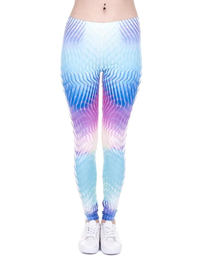 Damen Sport Komfort Sport Fitnessstudio Yoga Leggins Hose Mit Mustern Knöchellänge Druck Leicht Blau