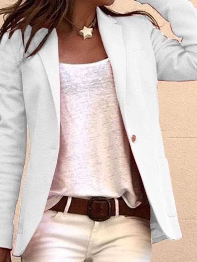 Women's Blazer Solid Colored Pocket Business Long Sleeve Coat Fall Spring Causal Regular Jacket Blushing Pink / Notch lapel collar / Work / Cotton