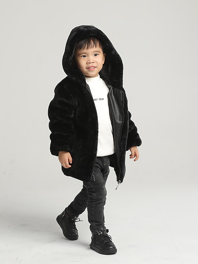 Kids Boys' Coat Black Solid Colored Zipper Hooded Faux Fur Casual Daily Basic Keep Warm 4-12 Years / Winter
