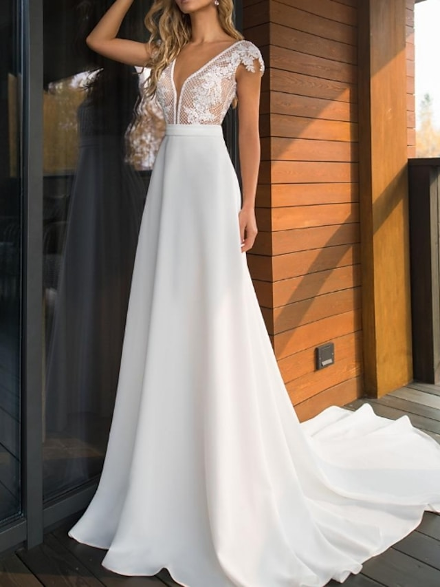 A-Line Wedding Dresses V Neck Sweep / Brush Train Lace Charmeuse Cap Sleeve Mordern See-Through with Appliques 2021