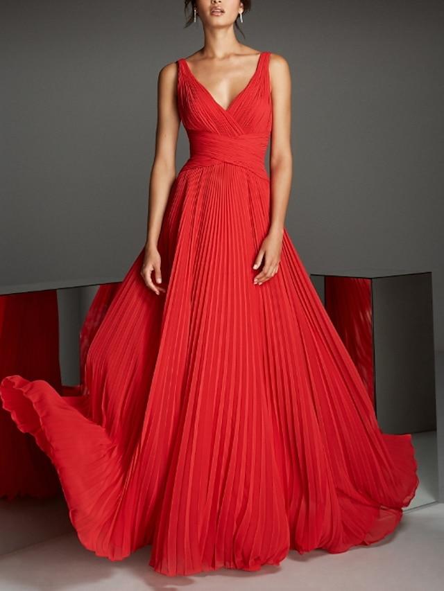 A-Line Empire Engagement Formal Evening Dress V Neck Sleeveless Floor Length Chiffon with Pleats 2021