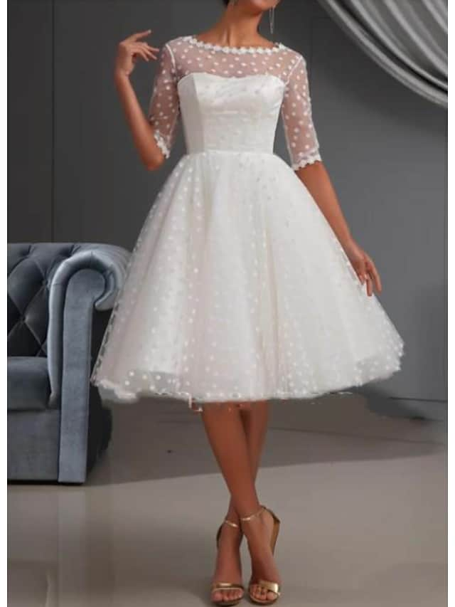 A-Line Wedding Dresses Jewel Neck Knee Length Lace Tulle Short Sleeve Casual Vintage See-Through Cute Illusion Sleeve with Draping Lace Insert 2021