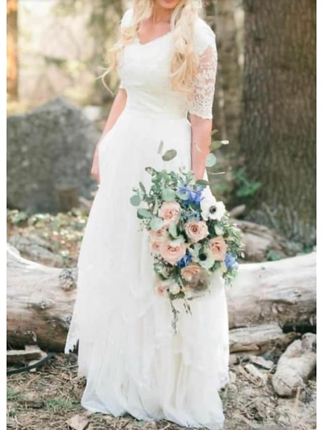 A-Line Wedding Dresses V Neck Floor Length Lace Tulle Half Sleeve Country Illusion Sleeve with Lace Insert 2021