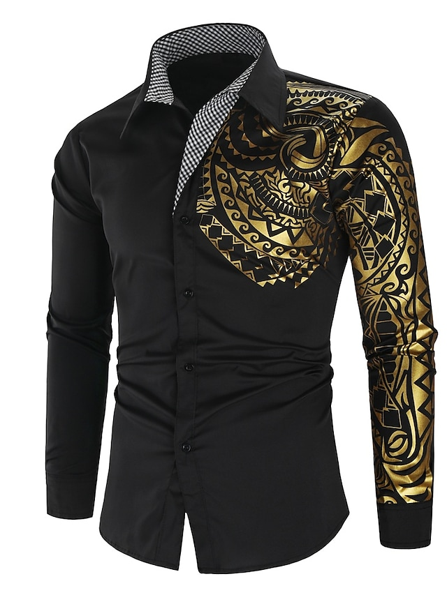 Men's Shirt Graphic Normal Print Long Sleeve Party Regular Fit Tops Polyester Regular Classic & Timeless Fashion Casual Daily Collar White Black Red / Summer / Winter / Autumn