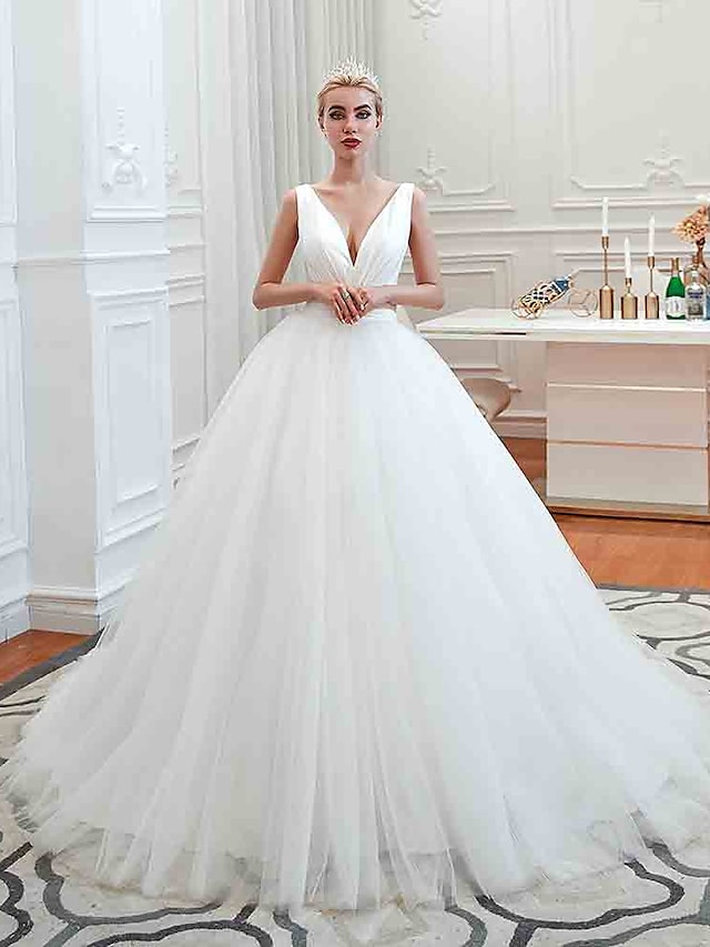 Ball Gown Wedding Dresses V Neck Court Train Tulle Regular Straps Simple Glamorous Backless with Ruched 2021