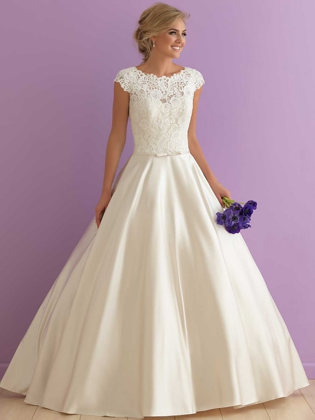 A-Line Wedding Dresses Jewel Neck Floor Length Satin Cap Sleeve Country Casual Illusion Detail with Sashes / Ribbons Lace Insert 2021